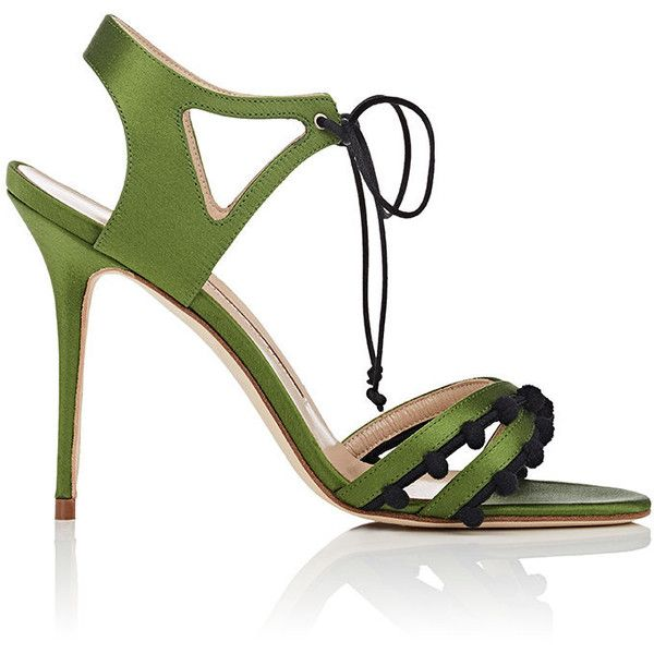 Manolo Blahnik Women's Esparra Satin Ankle-Tie Sandals (€745) ❤ liked on Polyvore featuring shoes, sandals, green, criss-cross sandals, strappy high heel sandals, open toe sandals, high heeled footwear and ankle strap high heel sandals