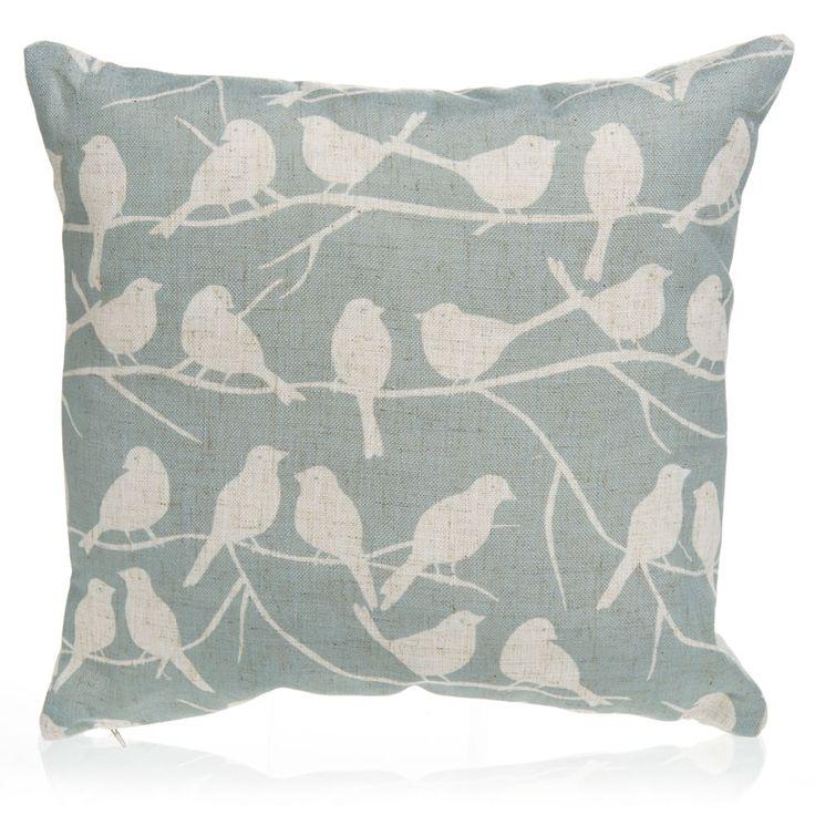 Wilko Birds Cushion Duck Egg 43x43cm