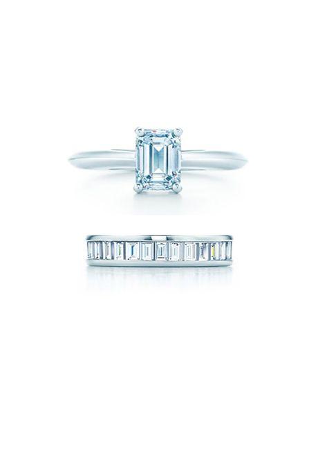 Sponsored: Emerald Cut Engagement Ring, Tiffany & Co.; Channel-Set Band Ring; @tiffanyandco