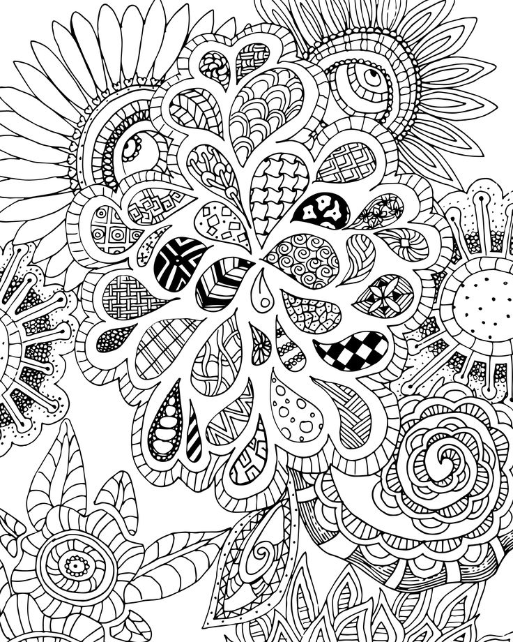 Free Flowers And Leaves Zen Tangle Coloring Page For