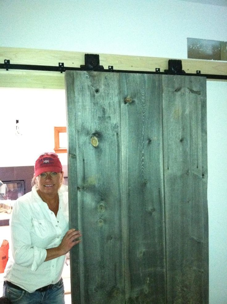 My barn wood track door installed for the office!
