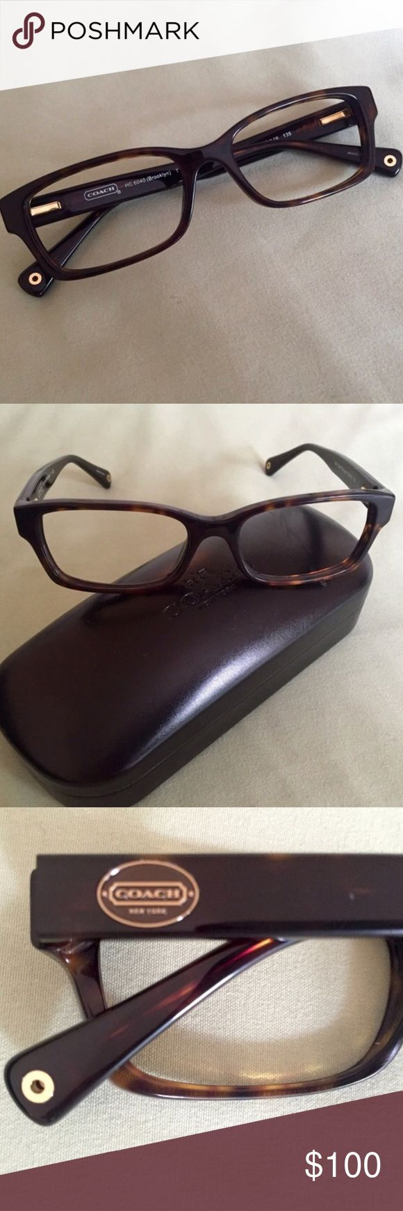 .:COACH RX GLASSES:. Coach prescription glasses frame in dark tortoise with gold accents. 50-16-135 Coach 1640 (Brooklyn) This does not come with the demo lenses. Frame is in awesome condition, only sign of wear is a scuff on the top of the case that I will include with order. Coach Accessories Glasses