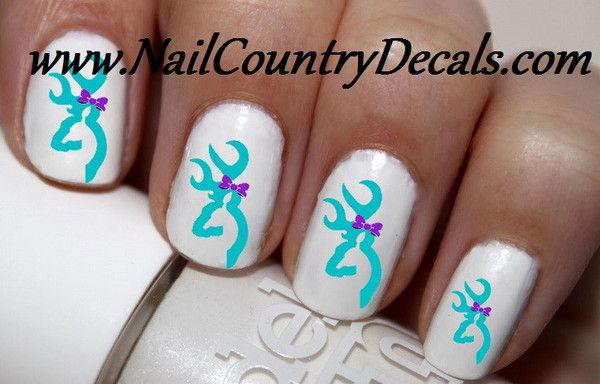 50 pc Teal Blue and Purple Love RealTree Mossy Oak DBL Browning Nail Decals Nail Art Nail Stickers Best Price NC1456
