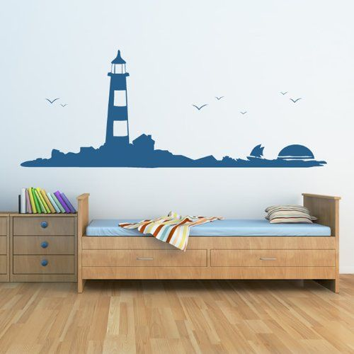 Lighthouse wall sticker skyline wall decal art available in 5 sizes and 25 colours x