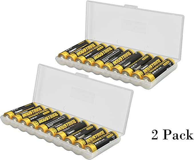 Whizzotech Aa Battery Storage Case Battery Holder Organizer Box Holds 10 Aa Batteries 2 Pack Office Products Battery Storage Card Storage Battery Holder