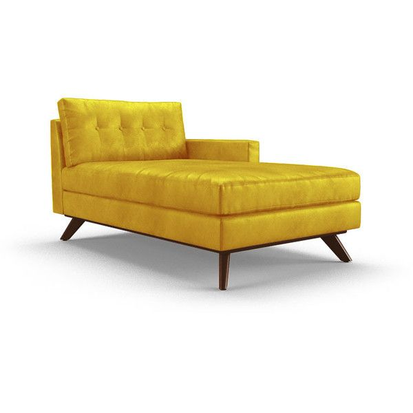 Joybird Hopson Mid Century Modern Yellow Leather Single Arm Chaise ($2,839)  ❤ Liked On Polyvore Featuring Home, Furniture, Chairs, Accent Chairs,  Yellow, ...