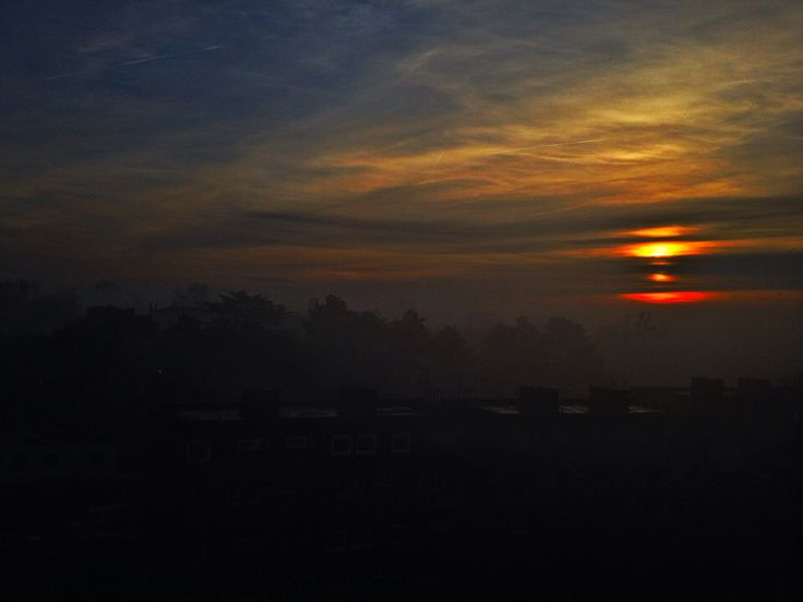 Foggy sun set view from my house, we have the perfect view