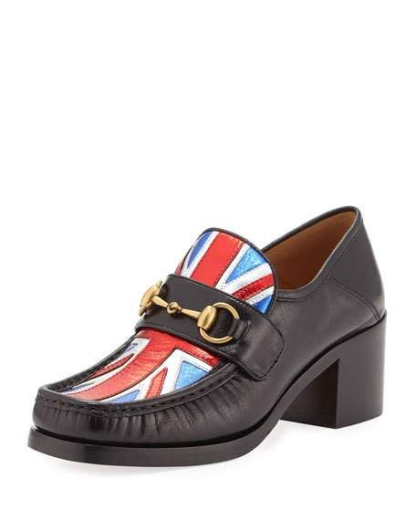 68a4541d4 Get free shipping on Gucci Vegas Union Jack Loafer Pump, Black at Neiman  Marcus. Shop the latest luxury fashions from top designers.