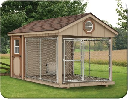 For those times Loomis is not invited to jump on visitors arriving or their cars! Lol  Front view of 8 X 12 Dura-Temp Dog Kennel -looks so spacious & nice for outdoor pets