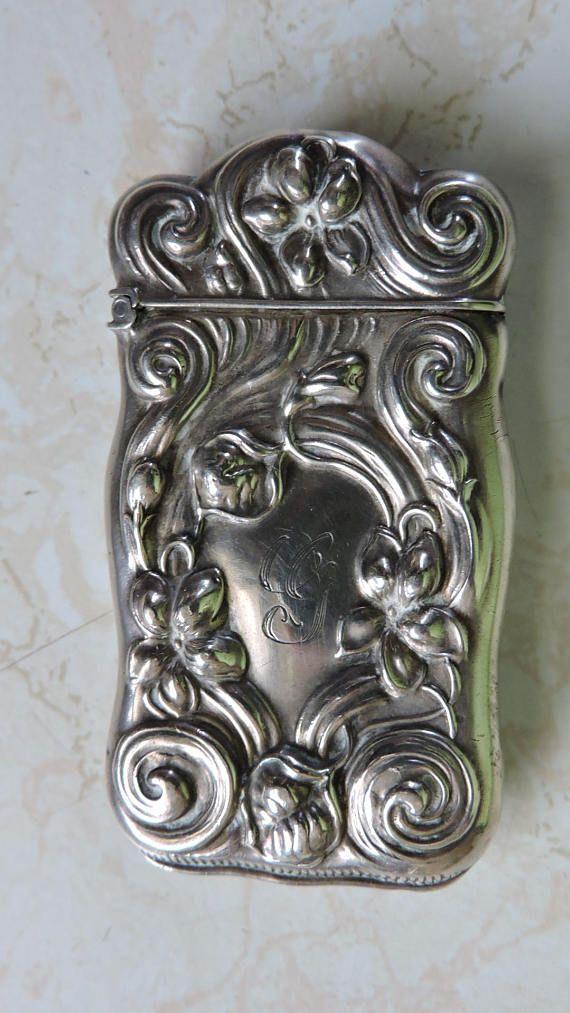 Antique Art Noveau Scroll Motif Sterling Silver Match Safe
