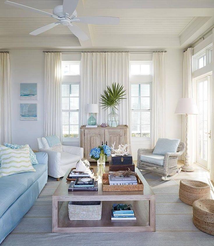 Blue Mountain Beach House Tour Florida Panhandle Sugars Beach Beach Decor Living Room Beach Theme Living Room Beach House Living Room