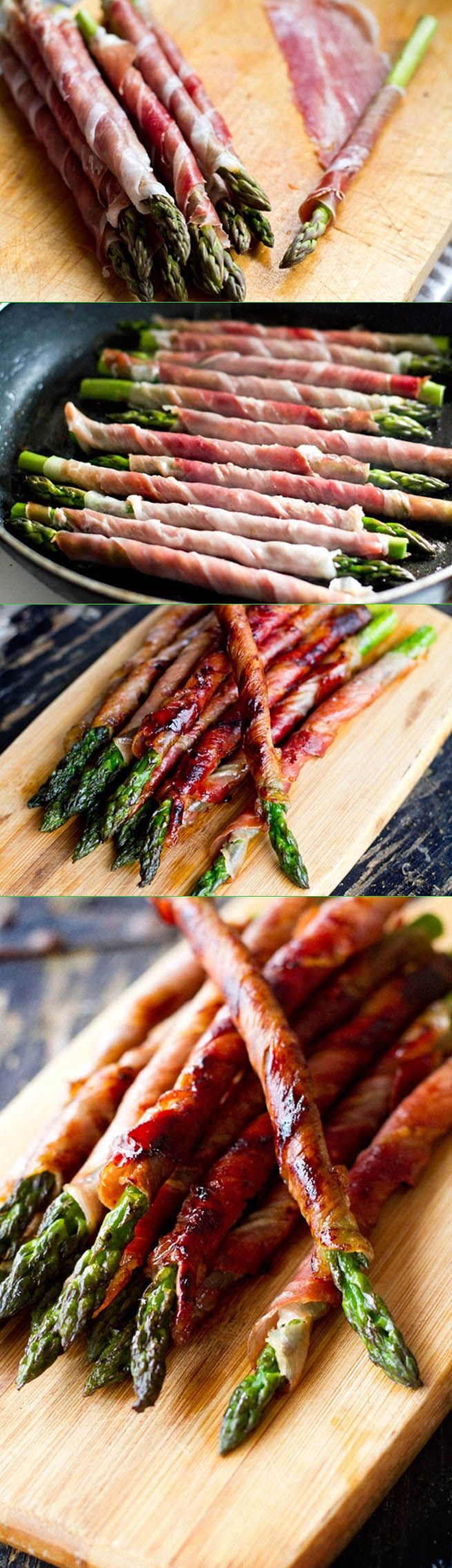 Prosciutto Wrapped Asparagus...Skip the french fries, did you say grilled meats?