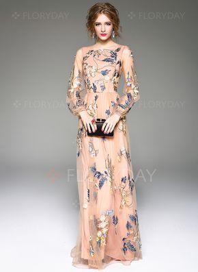 Kleider - $132.92 - Polyester Seide Blumen Lange Ärmel Maxi Vintage Kleider…
