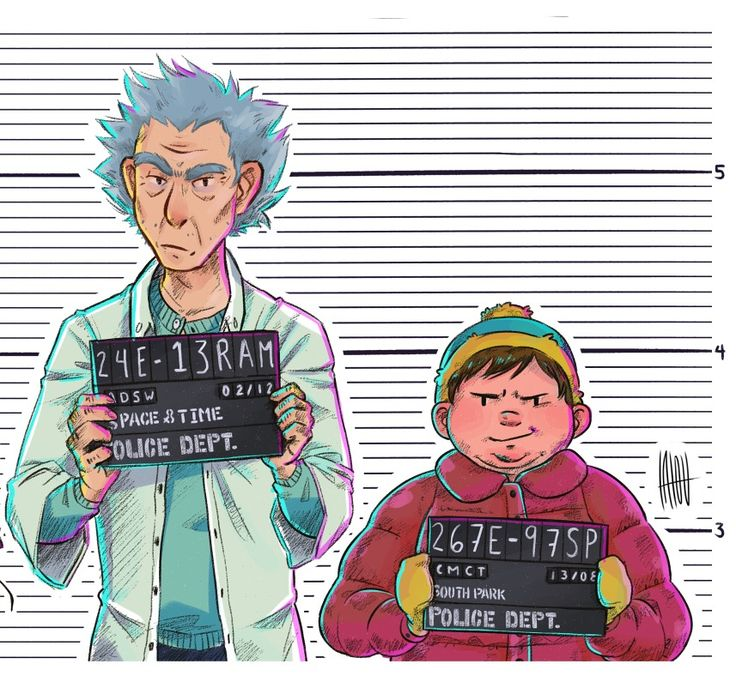 This is the greatest f*cking thing I've ever seen.   Rick and Morty / South Park   Rick and Cartman mugshot.