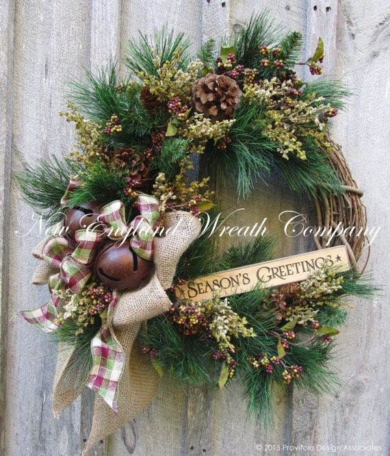 Christmas Wreath, Holiday Wreath, Sleigh Bells, Country Christmas, Lodge Look, Woodland Holiday, Jingle Bell Door Wreath