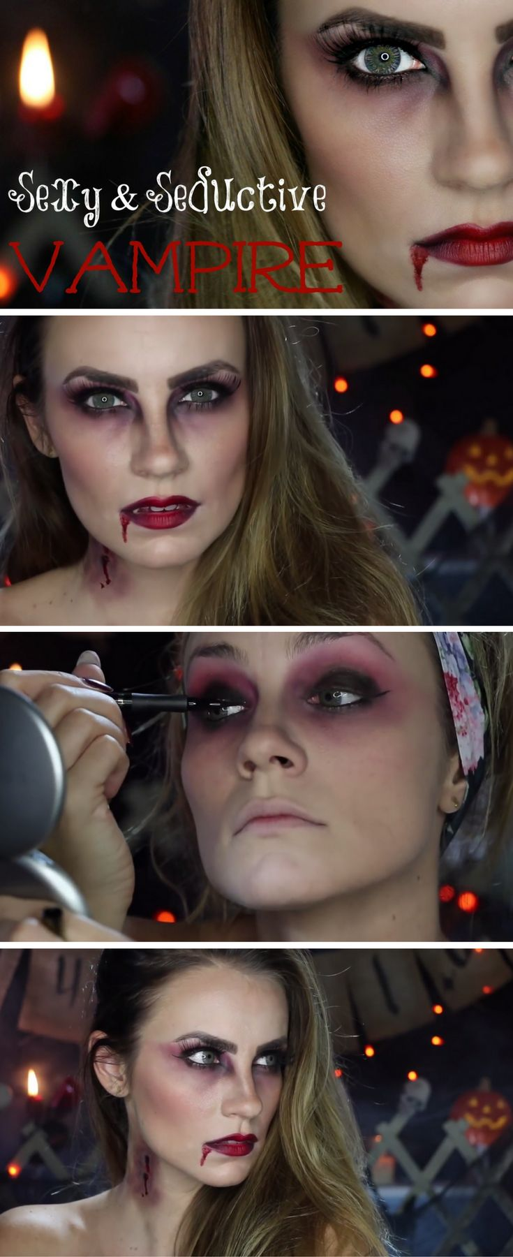 With the Twilight series & Vampire Diaries being so wildly popular, vampires are all the rage.  So why not turn yourself into a sexy, seductive vampire this Halloween?  I'm shown you how to get your sexiest vampire look in this video!