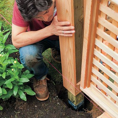 -     How to Build a Wood Lattice Fence -  -     www.thisoldhouse.com  -     POSITION THE SECOND POST  -     PART 17
