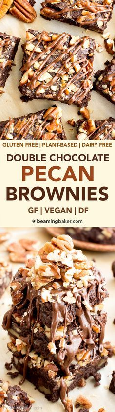 Double Chocolate Pecan Brownies (V, GF, DF): an easy recipe for rich, fudgy brownies packed with pecans and chocolate drizzle. #Vegan #GlutenFree #DairyFree | BeamingBaker.com