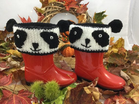 Panda Wellie Boot Cuff / Boot Toppers / Novelty by BabyJaneKnits