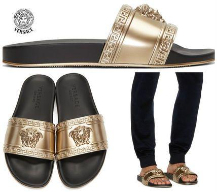 05a16c6c6fdbe9 VERSACE gold Medusa Slide Sandals