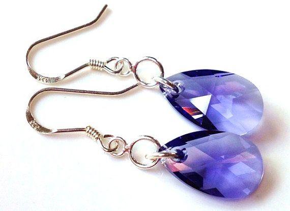 Tanzanite Swarovski crystal earrings-925 sterling earrings $25.00 by Emmalishop