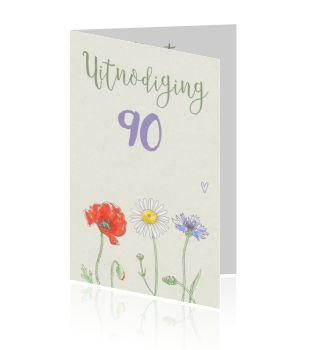 Uitnodiging 90ste verjaardag met veldbloemen