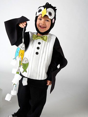 Chill out this Halloween in a fun penguin costume made from a sweatshirt, felt, and fleece.