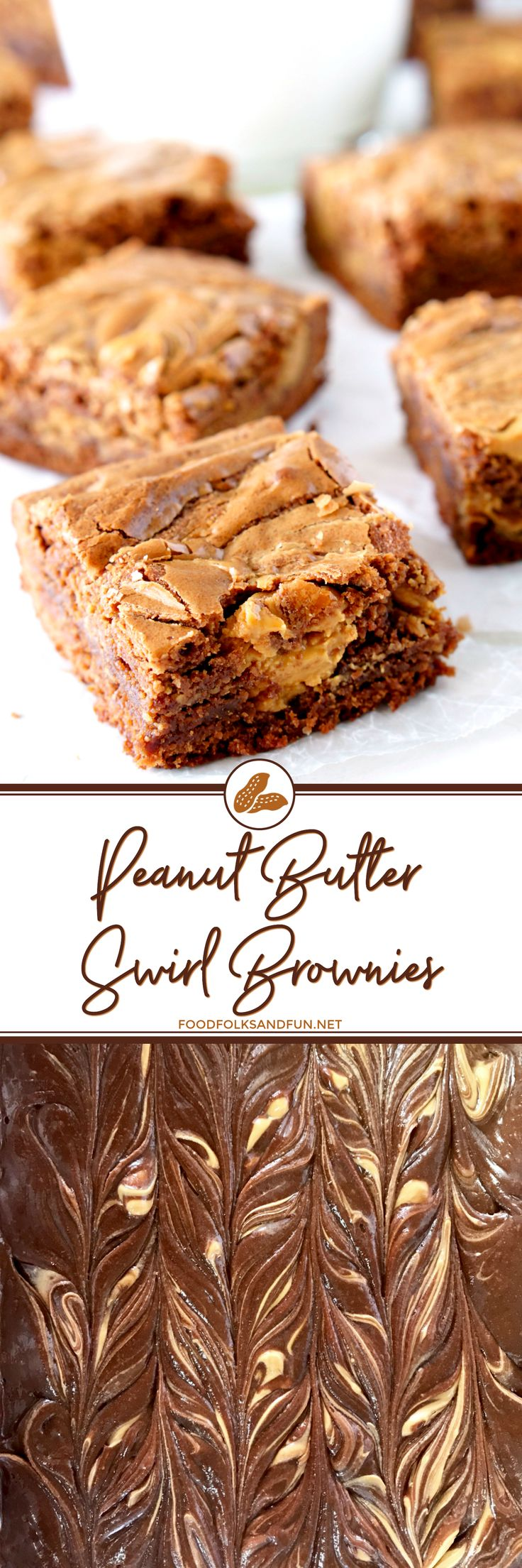 This Peanut Butter Swirl Brownie Recipe is just the thing when you're craving a little chocolate and peanut butter. The brownies are rich, fudgy, and they have just the right amount of peanut butter!