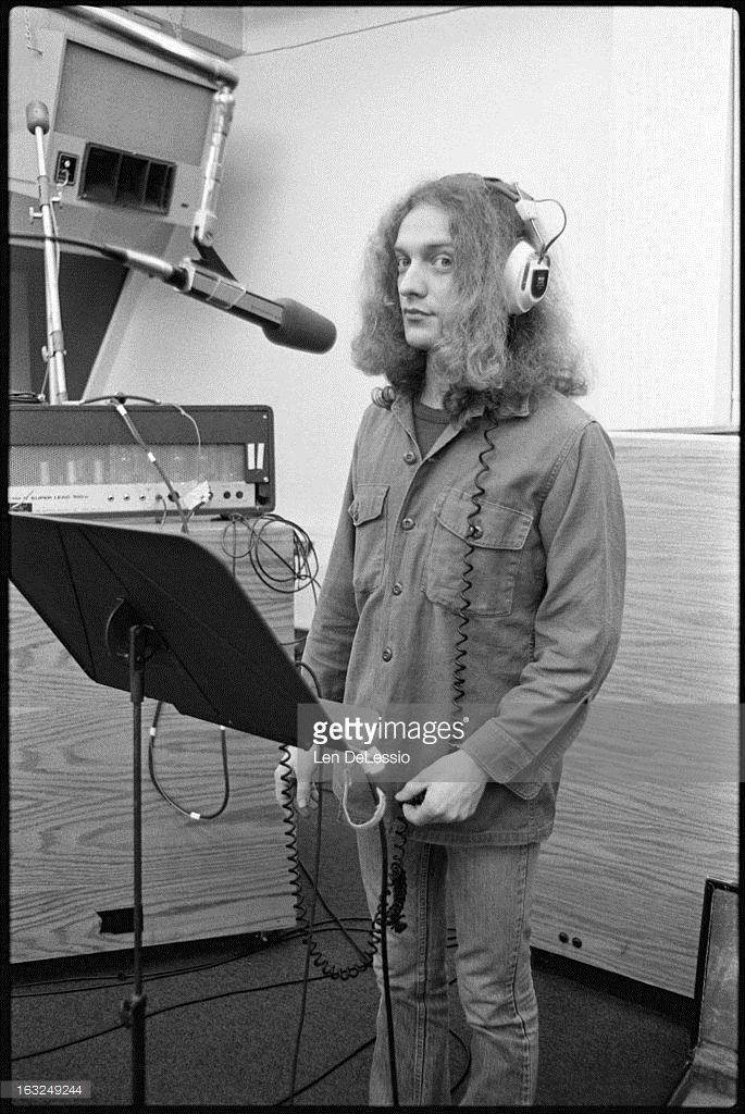 Portrait of American musician Lou Gramm (born Louis Andrew Grammatico) of the band Foreigner in the vocal booth at Atlantic Recording Studios, during the recording of his band's self-titled, debut album, New York, New York, 1976.