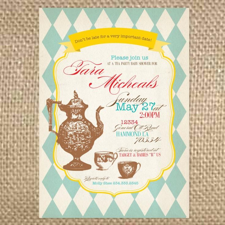 Argyle Wonderland Tea Party Invitation. $1.75, via Etsy.   Design ...
