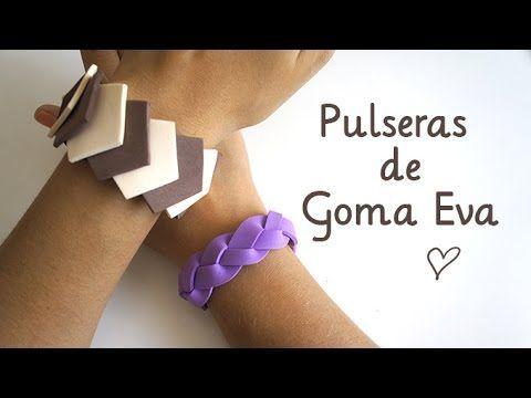 Cómo hacer Pulseras fáciles - Manualidades con goma eva - YouTube