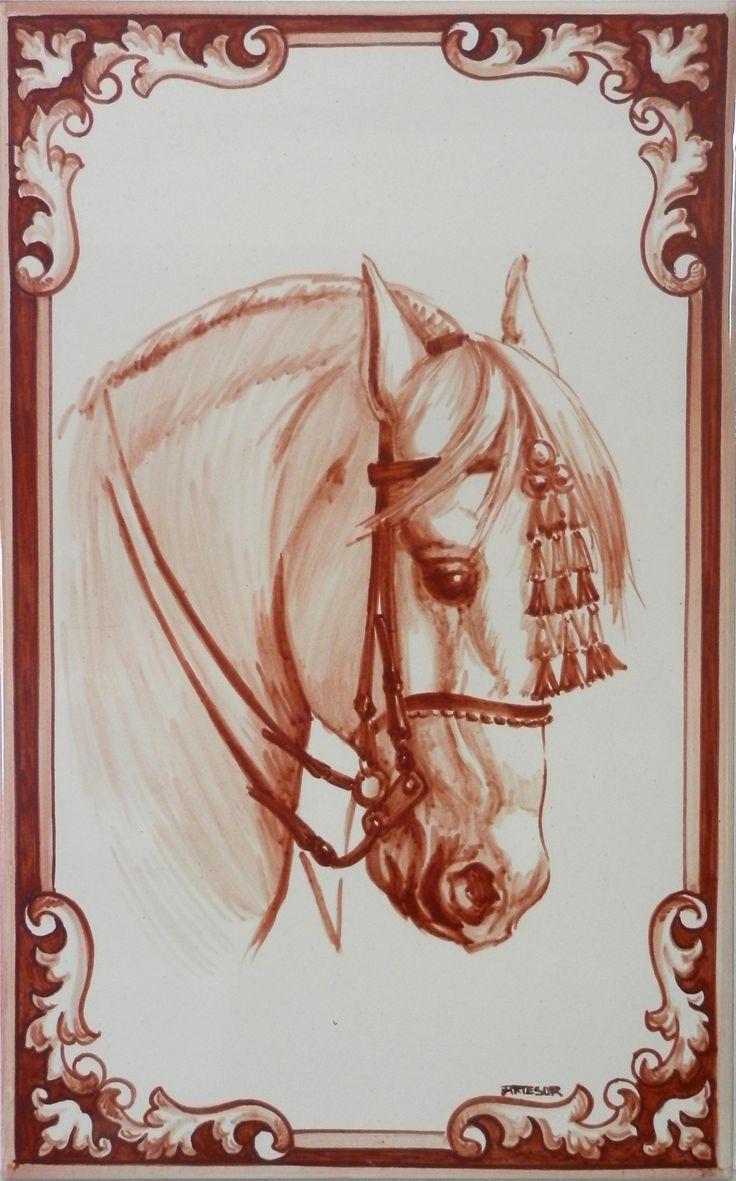 Cabeza de caballo azulejo sevillano pintado a mano Pintar azulejos a mano