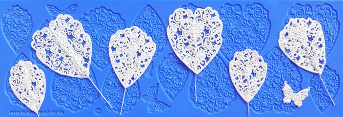 Peony silicone lace mould for beautiful edible lace flowers by Crystal Candy