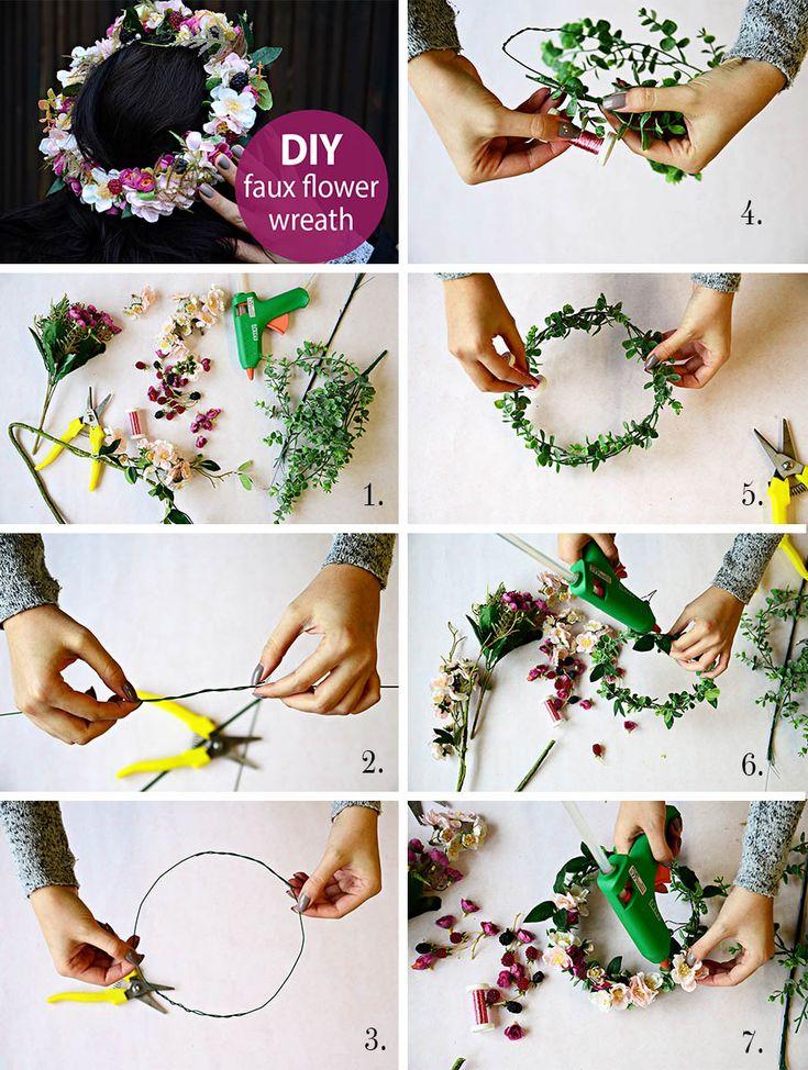 Postup tvorby věnečku z umělých květů krok za krokem. DIY věneček do vlasů. Wedding DIY