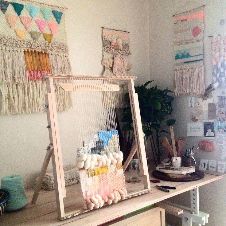 Woven wall hanging on the loom weaving by Maryanne Moodie www.maryannemoodie.com