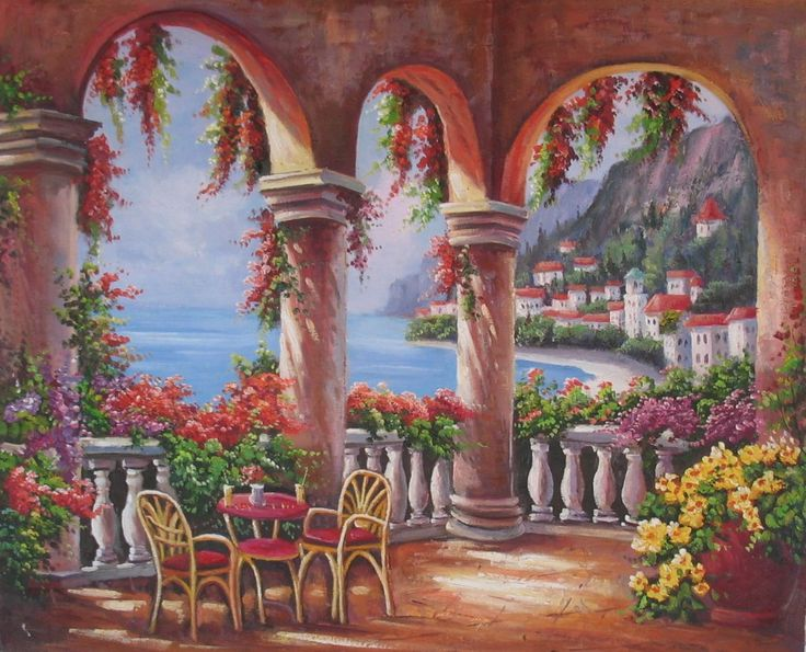 Elegant art work balcony mediterranean style canvas paintings sale