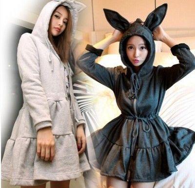 Cute kawaii rabbit ears hooded coat
