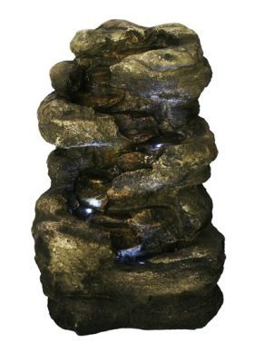 Vierstufiger-Felsbrunnen mit Beleuchtung: Amazon.de: Garten