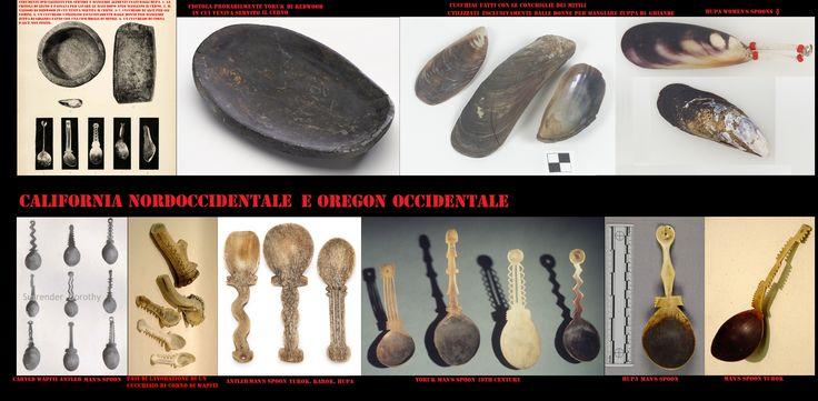 Strumenti specializzati per servire e per mangiare degli Yurok, Karok e Hupa. La carne di cervo veniva servita in appositi vassoi di redwood, finito il pasto ci si sciacquava le mani in una scodella di legno, per gli uomini venivano intagliati degli splendidi cucchiai in corno di wapiti (elk o alce americano) per consumare la pappa di ghiande le donne utilizzavano dei cucchiai ricavati da una valva di mitile.