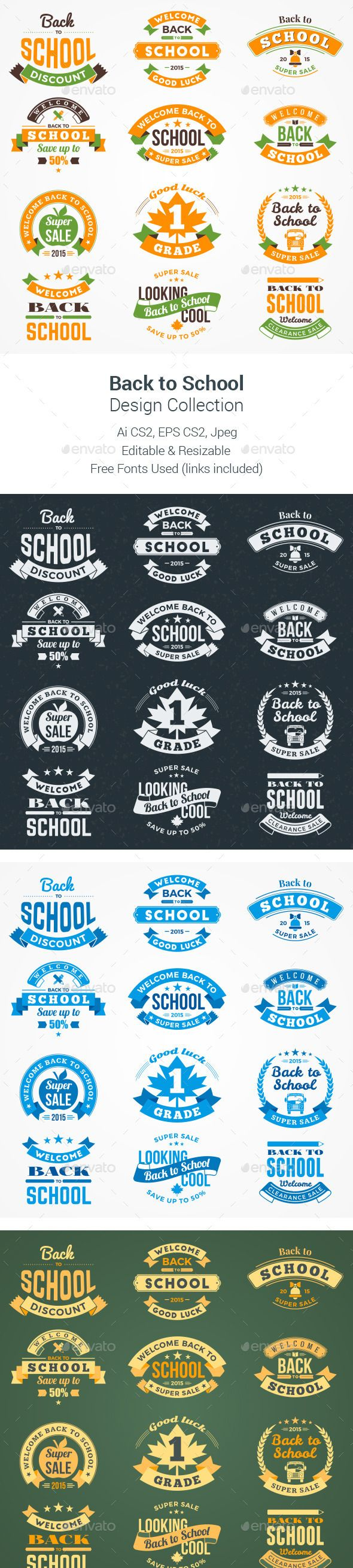 Back to School Design Collection #design Download: http://graphicriver.net/item/back-to-school-design-collection/12464547?ref=ksioks