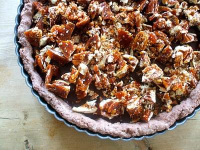dark chocolate sea-salt tart with candied pecans