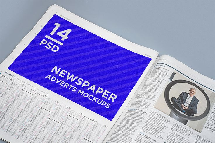 http://graphicriver.net/item/14-newspaper-adverts-mockups/12972067;ref=goner13  Features  - 14 PSD with different shoots of newspaper  - 4 PSD with premade interior  - changeable background color  - based on real photo BR> - replacing via Smart Objects  - photorealistic look - fully layered PSD - easy file structure with help file  - 4000×2800 px file size 240 ppi