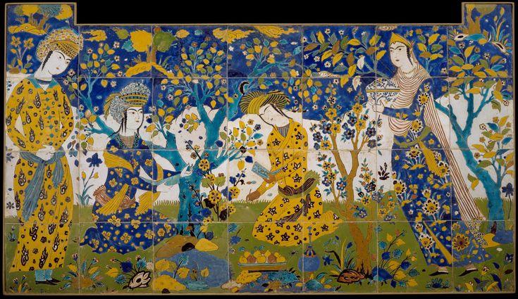 Panneau de carreaux safavides provenant du palais de Shah Abbas (1583–1627) à Ispahan. Collection du Metropolitan Museum, New York. Sefevid islamic tiles from Persia (Isfahan).