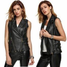 Finejo Stylish Ladies Women Casual Waistcoat Synthetic Leather Zipper Buckle Slim Vest