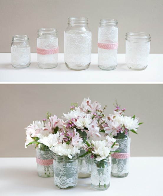 DIY mason jars with lace