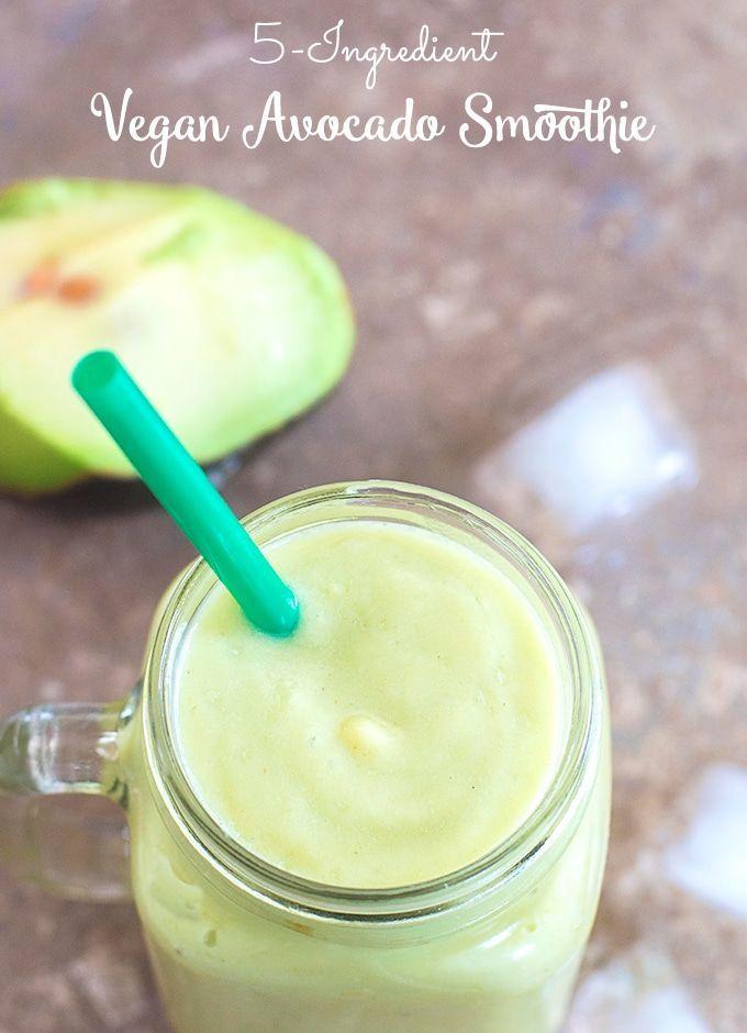 5 Ingredient Vegan Avocado Smoothie that takes less than 10 minutes to make. | #breakfast #protein  #smoothie #healthy #avocado Healthy breakfast, easy breakfast, vegan protein, Post workout smoothie