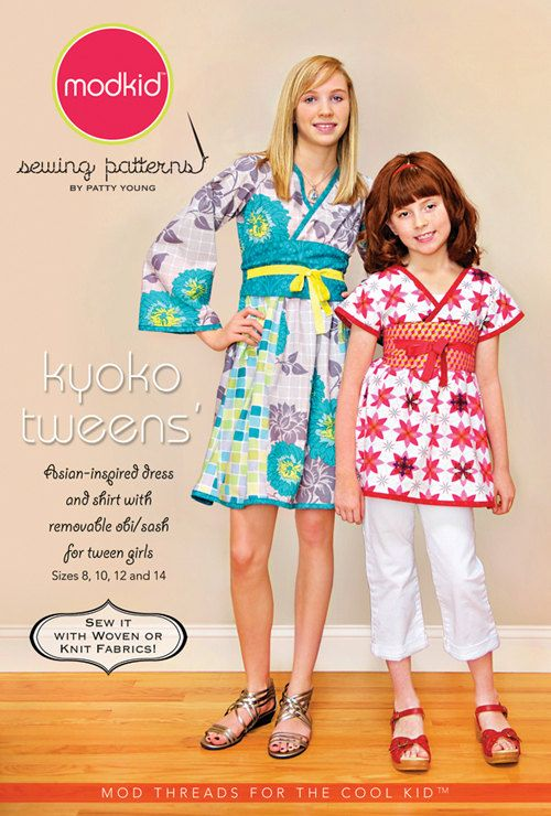 FREE SHIP Modkid Kyoko TWEEN Girls size 8-14 Asian Inspired Kimono style Shirt and Dress Sewing Pattern by Patty Young. $12.95, via Etsy.