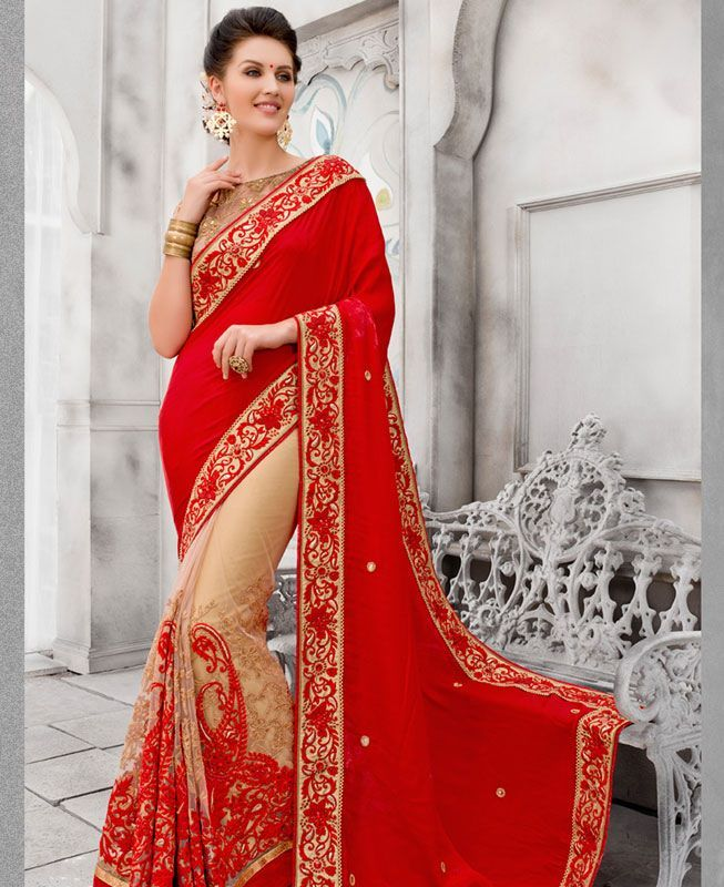 Buy Magnificent Red Fashion Sarees online at  https://www.a1designerwear.com/magnificent-red-fashion-sarees-2  Price: $119.00 USD