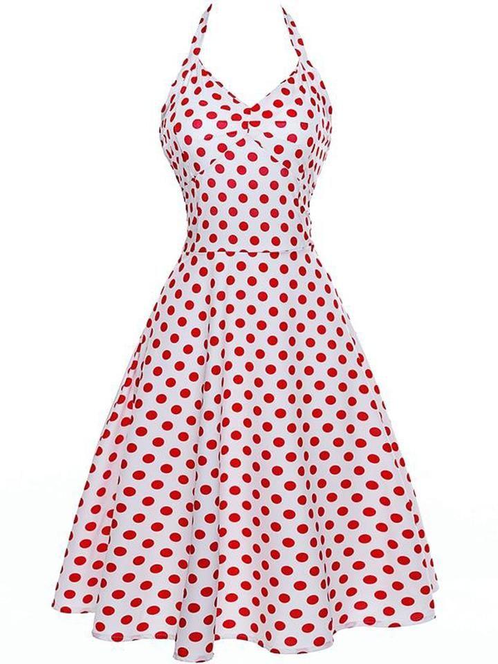 0e16dbca 1950S Polka Dot Halter Swing Dress in 2019   1950S DRESS   Dresses, Dot  dress, Swing dress