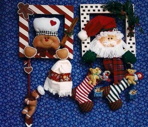 Moldes de marcos navideños con muñecos de navidad .